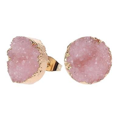 9f77e1c3b Guangtian Women's Druzy Stone Stud Earrings Women Irregular Natural Quartz  Geode Crystal Jewellery For Women Girls