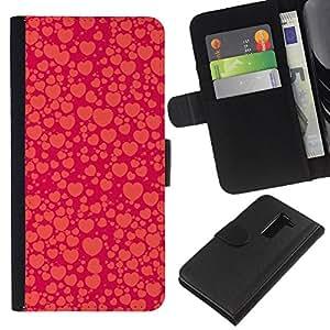 KLONGSHOP // Tirón de la caja Cartera de cuero con ranuras para tarjetas - corazón púrpura naranja burbuja melocotón rojo - LG G2 D800 //
