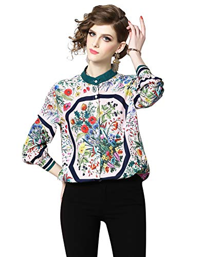 Floral Print Silk Blouse - LAI MENG FIVE CATS Women's Collared Neck Floral Print Shirt Casual Long Sleeve Button up Blouses