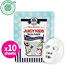 Big Green Natural Juicy Kids Face Mask 10Sheets - EWG VERIFIED, Soothing,Healing-Moisturizing,Calming,Ecocert Certified Squalane,Vitamins & Mineral