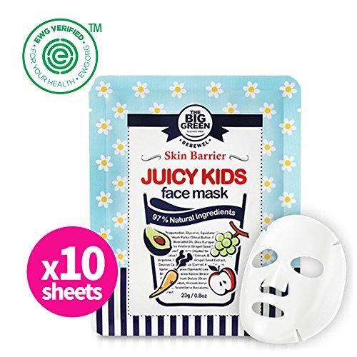 Masque Spa Kit - Big Green Natural Juicy Kids Face Mask 10Sheets - EWG VERIFIED, Soothing,Healing-Moisturizing,Calming,Ecocert Certified Squalane,Vitamins & Mineral