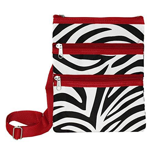 World Traveler Womens 9 Inch Swingpack Purse Bag, Red Trim Zebra, One Size