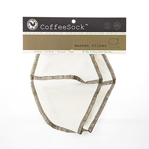 CoffeeSock Basket 3-6 cup- GOTS Certified Organic Cotton Reusable Coffee Filters (Grand Basket Co)