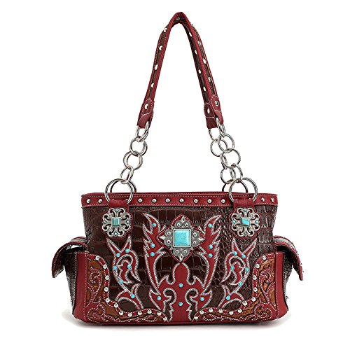 Top Unique Burgundy Vegan Alligator Tooled Leather Amulet Chain Concealed to Carry Designer Fashion Purse Bag Handbag Best Special Prime Black Friday Christmas Gift Idea Ladies Women Her Mom Wife Aunt
