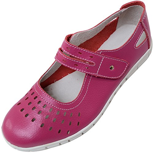 (ABSOLUTE FOOTWEAR Ladies/Womens Leather EEE Wide Fitting Summer/Holiday/Casual Shoes/Sandals - Raspberry - 7 US)