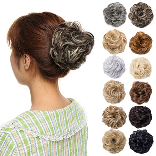 Scrunchy Updo Hair Bun Clip Messy Donut Chignons Synthetic Wavy Straight Hairpiece Hair Extension (medium brown & bleach blonde-thicker, 2PCS)