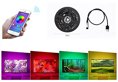 SJP Light New 5050RGB Waterpoof USB Smart Phone App Controlled LED Strip Light TV BackLight for 35-60inch (Cheap Disco Lights)