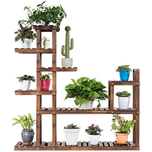Giantex Flower Rack Wood Plant Stand Wood Shelves Bonsai Display Shelf Indoor Outdoor Yard Garden Patio Multifunctional Storage Rack Bookshelf W/Hollow-Out Rack (47.5''Lx 10''Wx 47.5''H (7 Tier))
