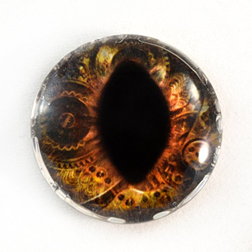 30mm Steampunk Dragon or Cat Glass Eye Single Brown Inner Clockwork Glass Eye Cabochon Taxidermy Pendant Sculpture or Jewelry Making (Eye Cabochon Pendant)