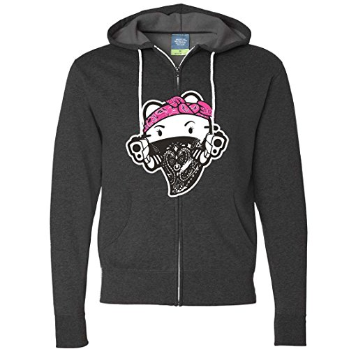 Hello Kitty Gangster Thug Zip-Up Hoodie - Charcoal Heather Large (Hello Kitty Gangster)