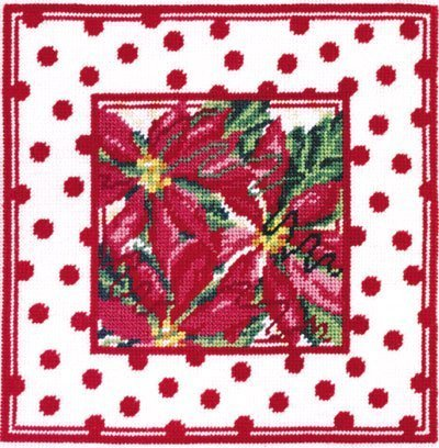 Poinsettia Polka Dot Needlepoint Canvas Collection – DMC – Design Size 8″ x 8″