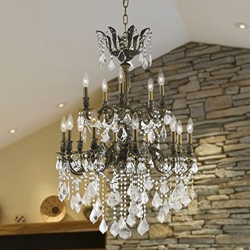 and Chandeliers Versailles Collection 15-light Antique Bronze Finish and Clear Crystal Chandelier (Versailles Collection Chandelier)