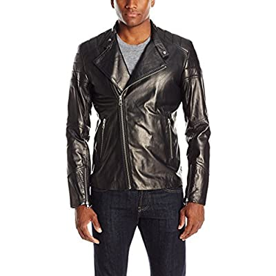SOIA & KYO Men's Byron Leather Moto Jacket, Black, Large at Men's Clothing store