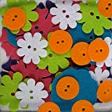 Favorite Findings Blumenthal Lansing 48-Piece Big Bag of Felt Buttons, Bright Blossoms