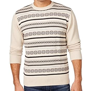 Weatherproof Cream Mens Fair Isle Crewneck Sweater Beige XLT at ...