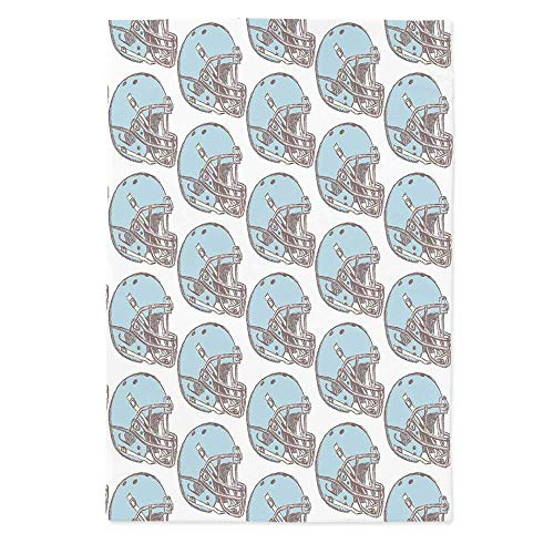 American Football Polyester Tablecloth,Sketch Art Style Rugby Helmets Vintage Pattern American Athletics Decorative for Wedding Banquet Restaurant,70.1''W X 84''L