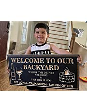 Welcome to Our Backyard Sign, 12.6 x 6.3inch, Rustic Wooden Vintage Bar Terrace Wall Decoration, Vintage Metal Banner for Outdoor Patio, Porch, Pool, Outdoor Wall Decor