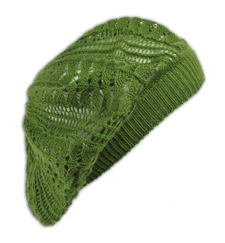 Womens Fashion Crochet Beanie Hat Knit Beret Skull Cap Tam (Olive) (Baggy Beret Hats For Women)
