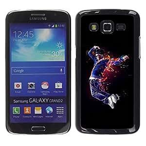 Caucho caso de Shell duro de la cubierta de accesorios de protección BY RAYDREAMMM - Samsung Galaxy Grand 2 SM-G7102 SM-G7105 - Flaming Dancer