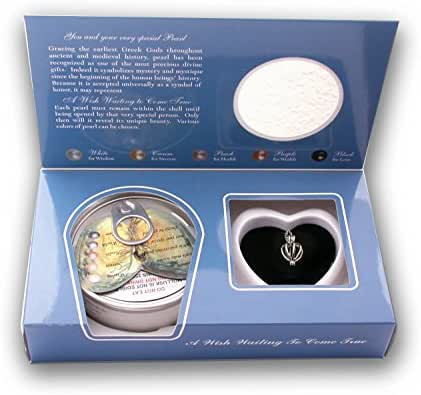 Pearlina Sterling Silver Heart Cage Locket Necklace Cultured Wish Pearl in Oyster Set, 18