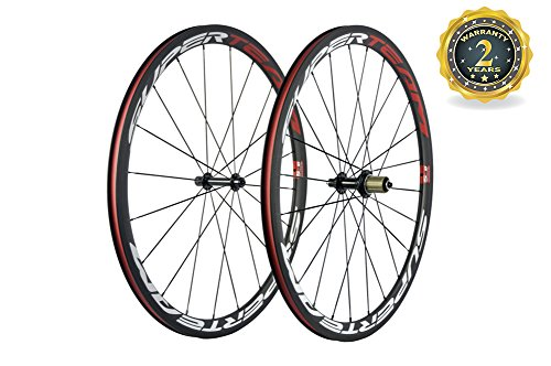 Superteam 38mm Carbon Road Wheelset 23mm Width Clincher Wheel with Basalt Braking Surface (Tubular Clincher Wheels)