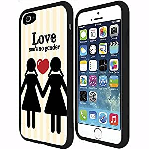 Women's Love See's No Gender (LGBT) RUBBER Snap on Phone Case (iphone 4s )