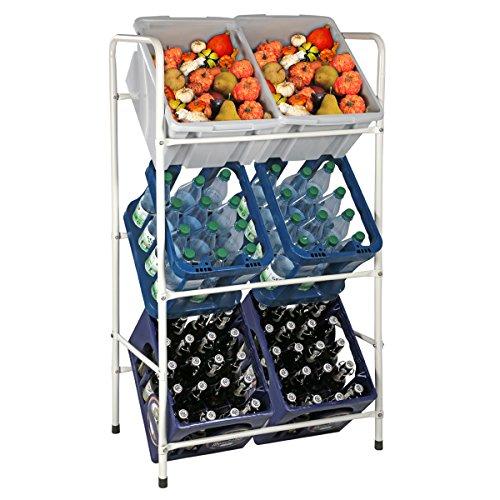 Kastenständer / Kistenregal - für 3, 6 oder 9 Kisten - in blau oder weiß Flaschenkastenregal Getränkekistenregal (6 Kisten (73x30x116cm), Weiß)