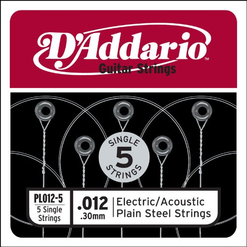 D'Addario PL012-5 Plain Steel Guitar Single String, .012 5-pack 5 Strings Soap Bar