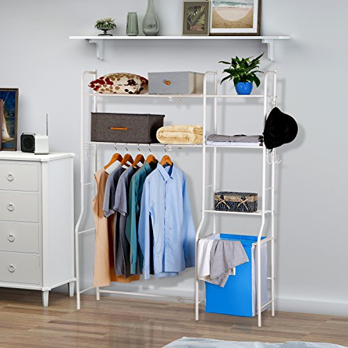 Lifewit Expandable Clothes Rack Garment Clothing Rack Space Saver with 3 Movable Hooks and Laundry Basket