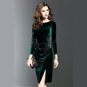 Seve7 Vestido Vestido Verde De Las Mujeres Más El Tamaño Elegante Otoño E Invierno Que Adelgaza