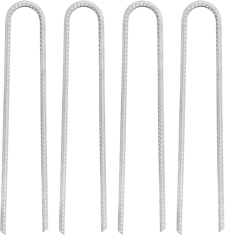 FEED GARDEN 16 Inches Galvanized Rebar Stakes U Hook Trampoline Anchors Heavy Duty Steel, High Wind Stakes for Anchoring Tents, Pack of 4
