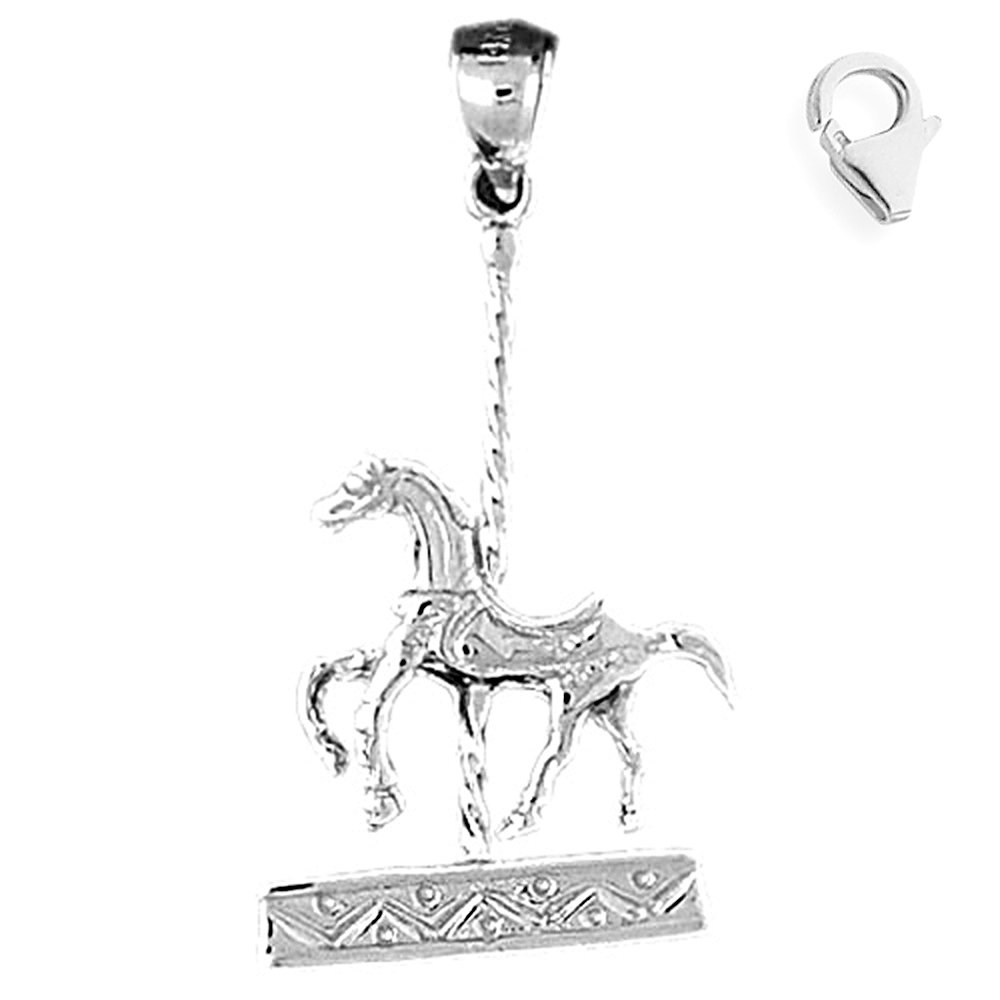 JewelsObsession Sterling Silver 35mm Carousel Horse Charm w//Lobster Clasp
