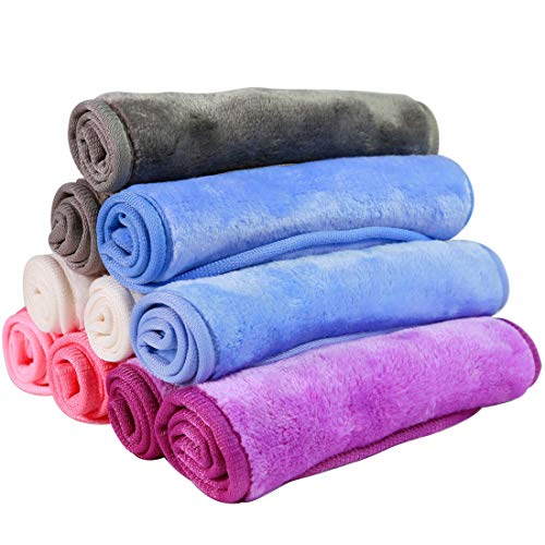 Nugilla Makeup Remover Cloth 10 Pack – Reusable Microfiber Cleansing Towel,Suitable for All Skin Types,Move Makeup Instantly,Multiple Colours