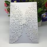 20pcs Vertical Laser Cut Butterfly Invitations Cards for Wedding Bridal Shower Birthday