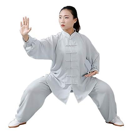 Ropa de Tai Chi con Unisexo Gong Fu Artes Marciales Trajes de Artes Marciales Ropa Completa Tops y Pantalones Delgado y Transpirable
