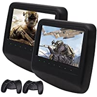EinCar Black 2 X 9 inch Twin Car Headrests DVD Players Entertainment Pair of Monitors Video Audio 32 Bit Games Easy Install Dual Twin Screens IR/FM Transmitter