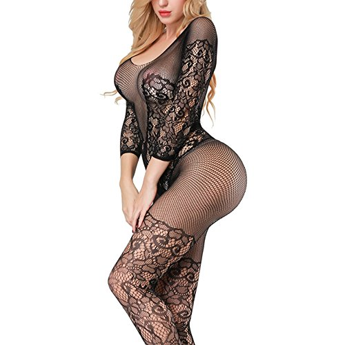 Sexy Black Fishnet Bodystocking - Advoult Plus Size Lingerie Fishnet Bodysuit Crotchless Tights Sexy Nightwear Bodystocking for Women