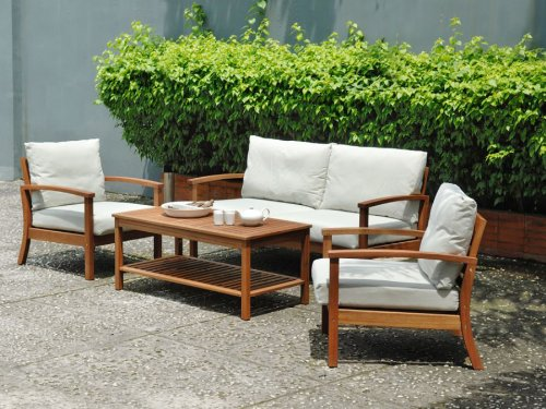 4pc Porthcawl Outdoor Patio Sofa Seating Set Furniture By Azzurro Living