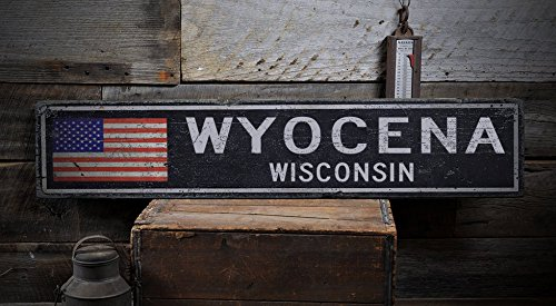 WYOCENA, WISCONSIN - Rustic Hand-Made Vintage Distressed Wooden US Flag Sign - 7.25 x 36 Inches