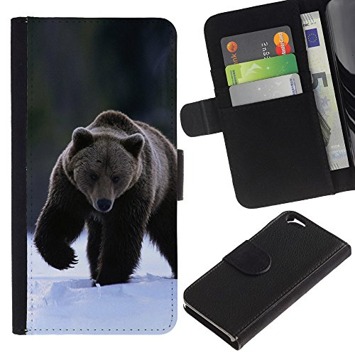 EuroCase - Apple Iphone 6 4.7 - The Winter Grizzly Bear - Cuir PU Coverture Shell Armure Coque Coq Cas Etui Housse Case Cover
