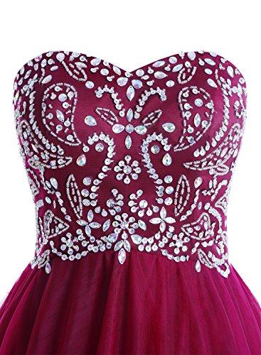 Bbonlinedress Vestido De Fiesta Boda Mujer Tul Escote Corazón Con Cuentas Rubor