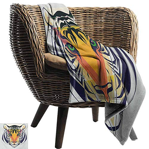 vanfan-home Tiger Throws,Green Eyed Large Cat with Geometrical Shapes in Front of It Abstract Art Comfortable and Warm Beach Blanket for Couch Bed Living Room (90