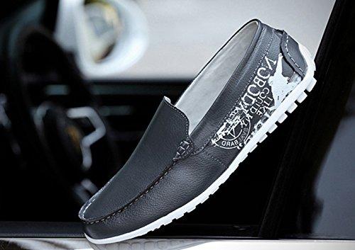 Mocasines Cuero Negocio Gris Casual Conducción Loafers Planos Slip Zapatillas de Zapatos Moda On Hombre SK de Stutio para 1qPww5An