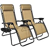 Tan Zero Gravity Chairs With Cup Tray Holder Lounge Folding Foldable Utility Case Beach Recliner Patio Outdoor Yard Garden Deck Backyard Camping Picnic Pool Décor Furniture UV-Resistant Mesh Material