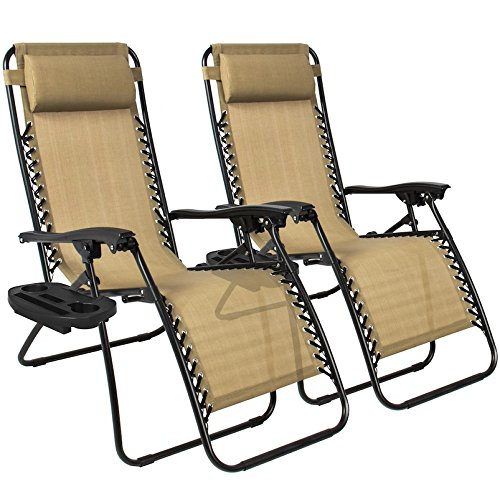 Tan Zero Gravity Chairs With Cup Tray Holder Lounge Folding Foldable Utility Case Beach Recliner Patio Outdoor Yard Garden Deck Backyard Camping Picnic Pool Décor Furniture UV-Resistant Mesh Material (Rustic Furniture Nz Garden)