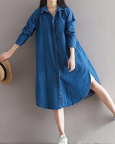 Pequeña Fiesta Azul Mujeres Marino Elegante Casual la Blazers Botones n1qY5ZRq