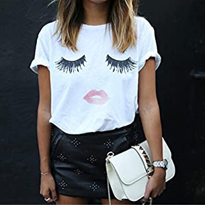 Wintialy Women Eyelash Printing Summer Loose Tops Short Sleeve Blouse T Shirt
