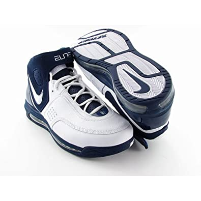 the latest 6d698 50383 Nike Mens Air Max Elite TB Basketball Shoes White Navy