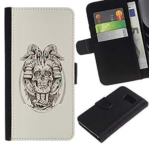 LECELL--Cuero de la tarjeta la carpeta del tirón Smartphone Slots Protección Holder For Sony Xperia Z3 Compact -- Cráneo de cuernos del demonio --