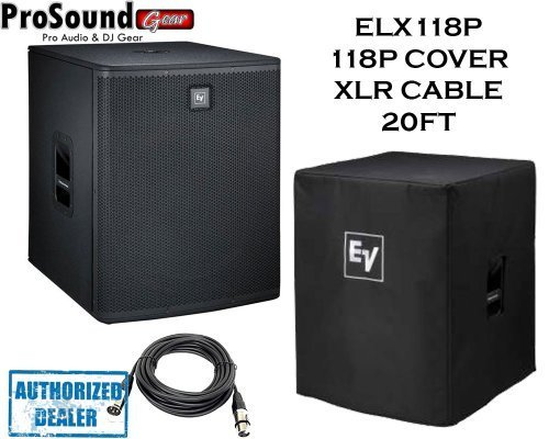 Electro-Voice ELX118P Powered 18-inch subwoofer 700 Watt Amplified Woofer System w/Rugged wood cabinet + Free Ev Cover and XLR 15ft cable by Electrovoice